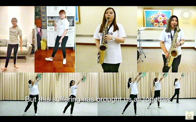 """7・19「女子部結成記念日」を祝賀する香港女子部(蔡少薇部長)の総会(事前収録による映像を19日にYouTubeで限定公開)。女子文化部の友が各自宅などで撮影した演奏、ダンス、合唱の動画をつないだ""""リモートステージ""""を披露。呉楚煜理事長が、揺れ動く心に負けない不動の自己を築こうと訴えた"""