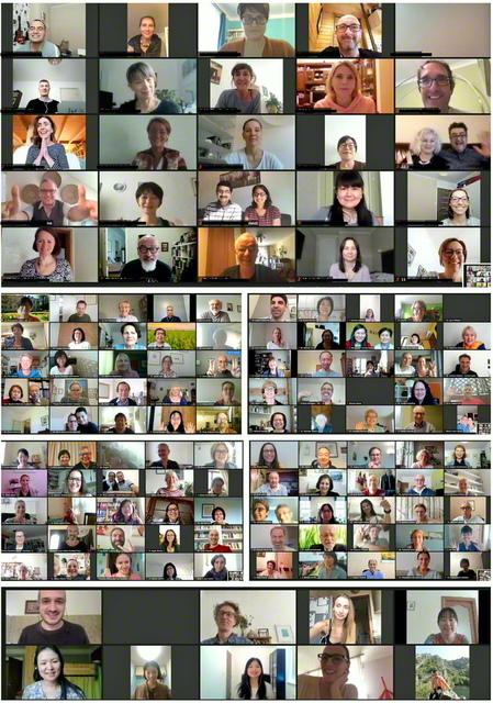 意気軒高に行われた東欧のリーダー研修会(写真はオンラインの画面を組み合わせたもの)