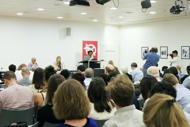 ICAN(核兵器廃絶国際キャンペーン)の市民会議。国際パートナーの一員であるSGIの代表も出席し、宗教者としての取り組みなどを報告した(2018年4月、スイスのジュネーブで)