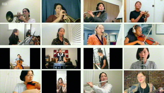 昨年10月、ニューヨークやロサンゼルスなど13の地域ごとに、オンラインで開催されたアメリカSGIの集い。それぞれの集いでは、「イケダ・ユース・アンサンブル」の鼓笛隊の友による演奏が披露された