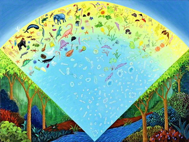 JT生命誌研究館(大阪府高槻市)に展示されている「生命誌絵巻」。地球上の全ての生物が38億年の歴史を持ち、相互に関係し合うことを示している(協力:団まりな、画:橋本律子、写真提供=JT生命誌研究館)