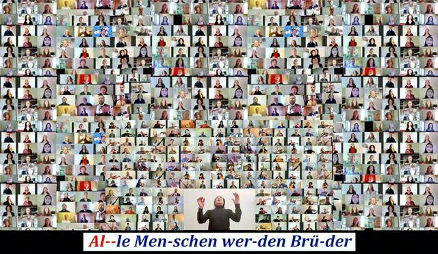 欧州誓願総会の掉尾を飾った「歓喜の歌」の合唱動画から。欧州30カ国以上の友が、広布拡大へのあふれる情熱を歌声に託した