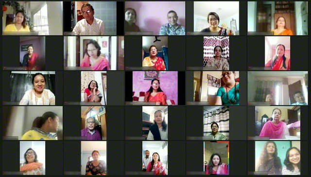 朗らかに行われたネパールの婦人部総会。120人を超える同志が参加し、広布への決意を固め合った