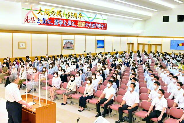 巡り来る7・17「大阪の日」――原田会長と共に常勝凱歌の大前進を誓い合った大阪代表幹部会(関西池田記念会館で)