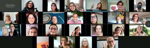 コロンビア婦人部(フィゲロア婦人部長)の総会は6月20日、2回に分けてオンラインで開催。学会指導を皆で研さん。合唱や詩の朗読が、会合に花を添えた。中南米指導会議のイケダ副議長、オガワ副議長が、「一家和楽の実証を示し、『女性の世紀』を開く一人一人に」と激励した