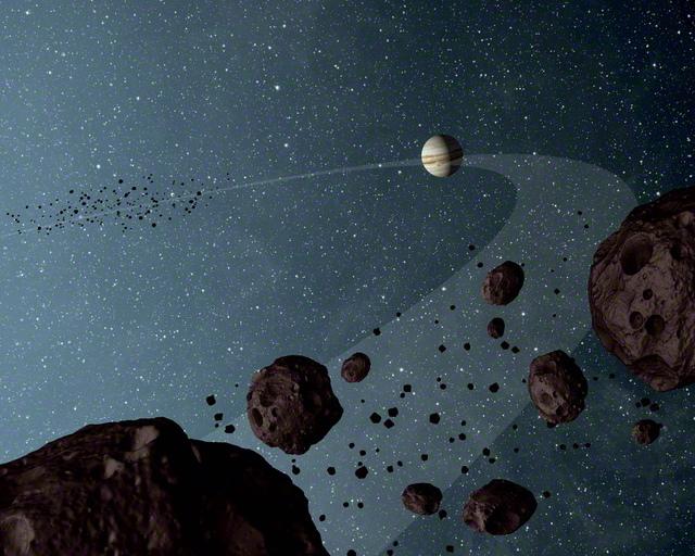 トロヤ群のイメージ図。今秋NASAが探査機ルーシーの打ち上げを予定している(NASA/JPL-Caltech)