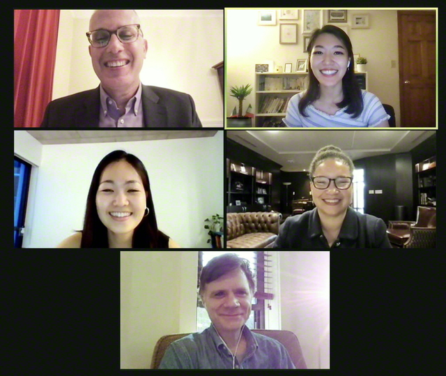 池田国際対話センターの新イベント「インディゴ・トークス」で、ハッカビー教授(中段右)が講演。質疑応答も活発に行われた