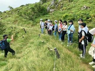 関西小の「琵琶湖・伊吹山」コース。2日目に登山した伊吹山で、石灰岩が水に溶けて作られた、すり鉢状の窪地「ドリーネ」を観察した(7月22日)