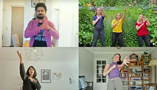 総会の映像で歌やダンスを披露するスウェーデンの友