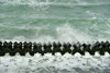 厚田の冬の海岸に激しく波が打ち寄せる
